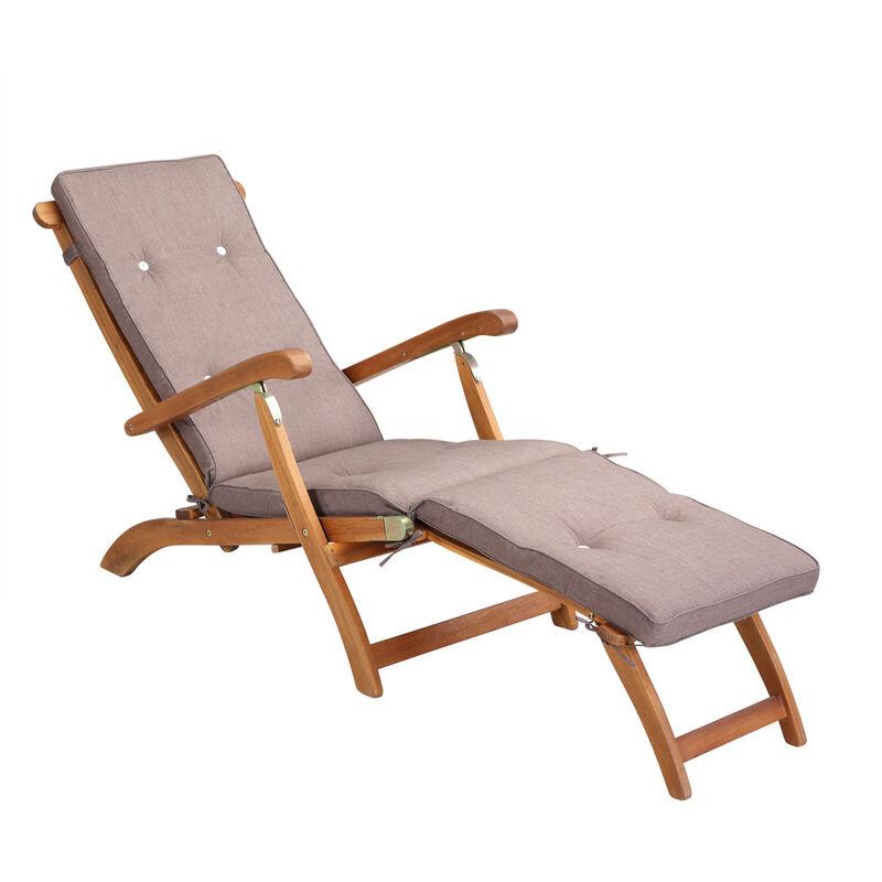 Coussin pour chaise longue Gris Crème Réspirant résistant à l'eau 186x42x5cm Jardin Balcon Terrasse Cream mottled (en)