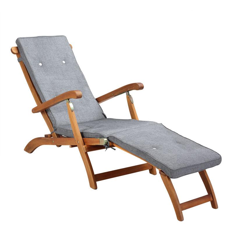 Coussin pour chaise longue Gris Crème Réspirant résistant à l'eau 186x42x5cm Jardin Balcon Terrasse Grey mottled (en)