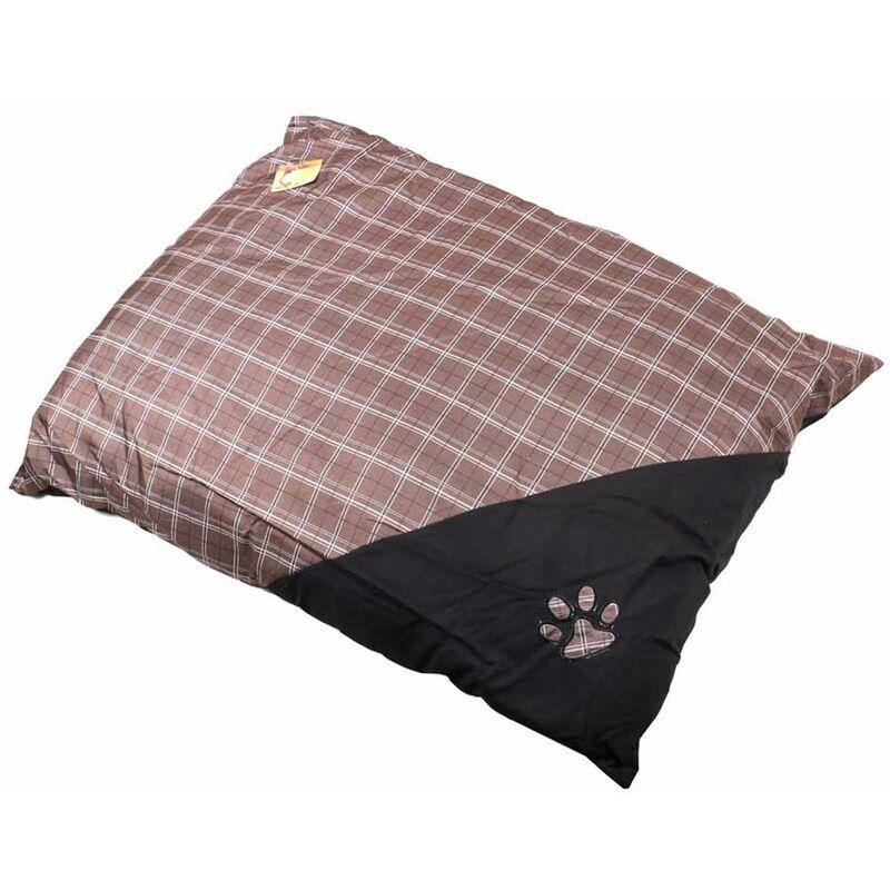 Coussin pour chien motif écossais 75x55 marron - Marron
