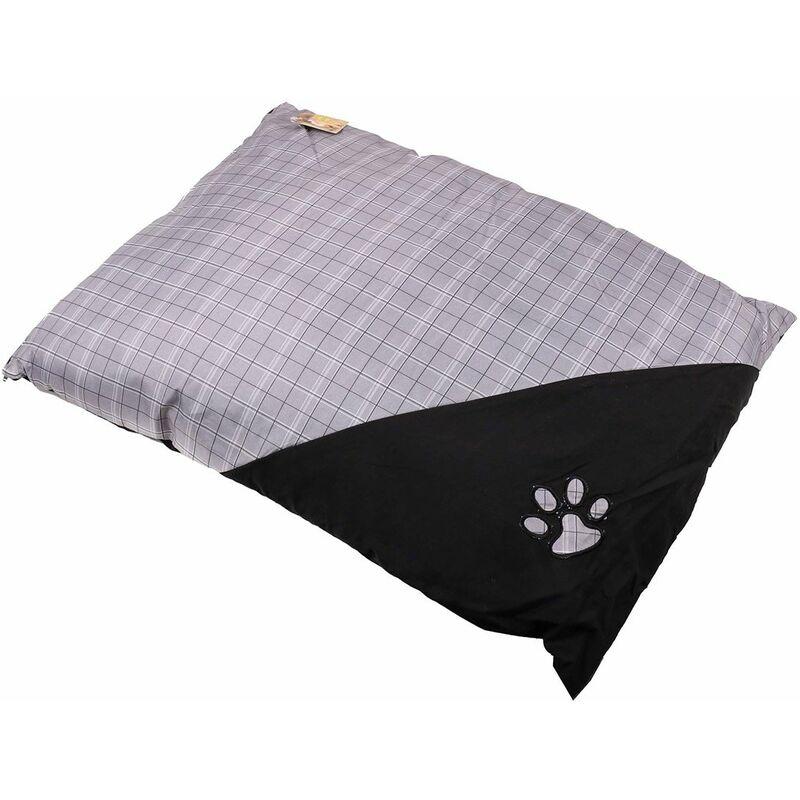 Coussin pour chien motif écossais 90x70 gris - Gris