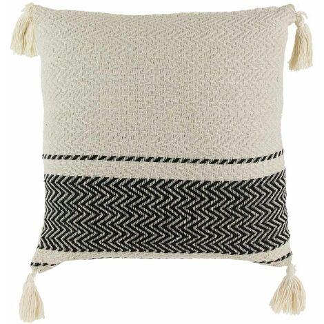 Coussin rayures style berbères avec pompons 40 cm - Beige