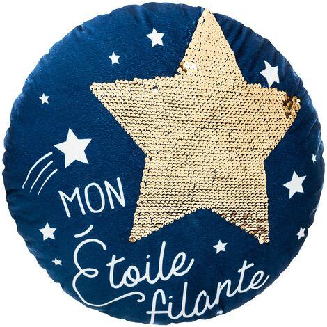 Coussin rond 40 cm étoile sequins bleu