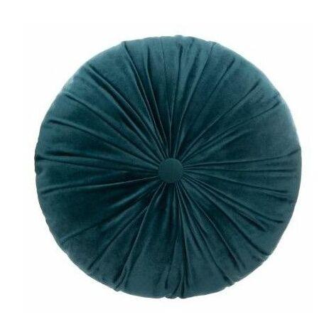 Coussin rond effet velours - D 40 cm - Bleu