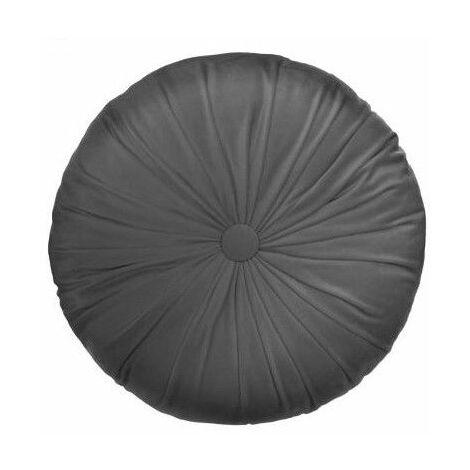 Coussin rond effet velours - D 40 cm - Gris