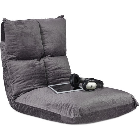 Coussin siège, chaise, yoga, gaming, sol, moelleux, confortable, pliable, flex, 6 positions, max. 100 kg, gris