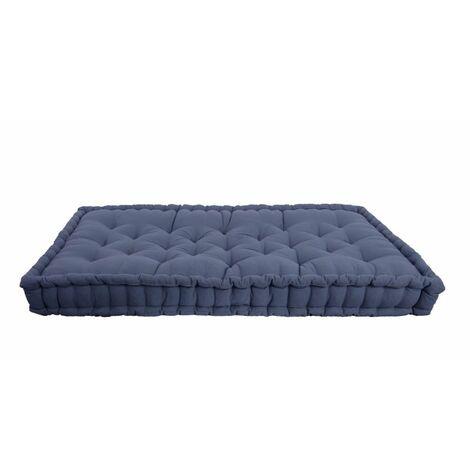 Coussin Sol Matelas Palette 100% Coton 80 x 120 x 8 cm Non Déhoussable Uni Bleu Bleu 8 - Bleu