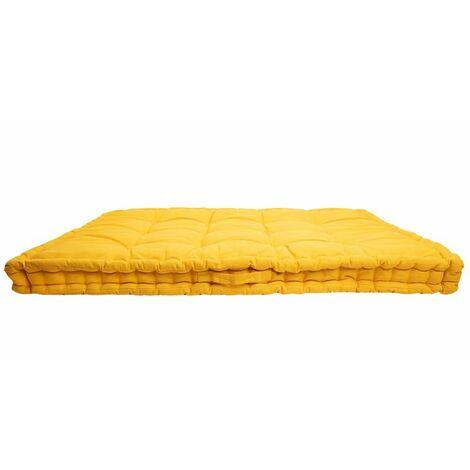 Coussin Sol Matelas Palette 100% Coton 80 x 120 x 8 cm Non Déhoussable Uni Jaune Jaune 8 - Jaune