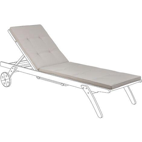 Coussin taupe pour chaise longue de jardin en tissu anti-UV résistant