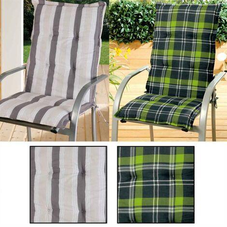 Coussins à dossier haut Coussins de chaise de jardin Coussins de siège Grau/Beige gestreift