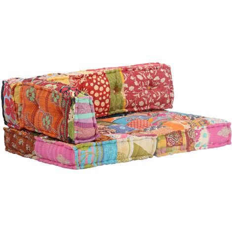 Coussins canapé de sol poufs modulaire chaise longue 2 places en tissu Patchwork - or
