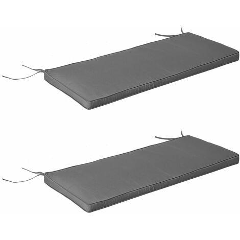 Coussins de banc de jardin déhoussables - coussins balancelle - lot de 2 - dim. 120L x 50l cm - rembourrage 5 cm - cordons d'attache - polyester gris