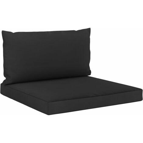 Coussins de canapé palette 2 pcs Noir Tissu