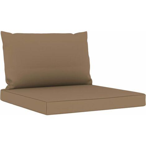 Coussins de canapé palette 2 pcs Taupe Tissu