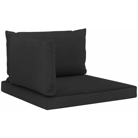 Coussins de canapé palette 3 pcs Noir Tissu