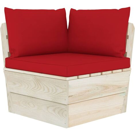 Coussins de canapé palette 3 pcs Rouge Tissu