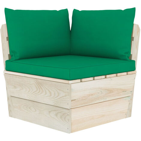 Coussins de canape palette 3 pcs Vert Tissu