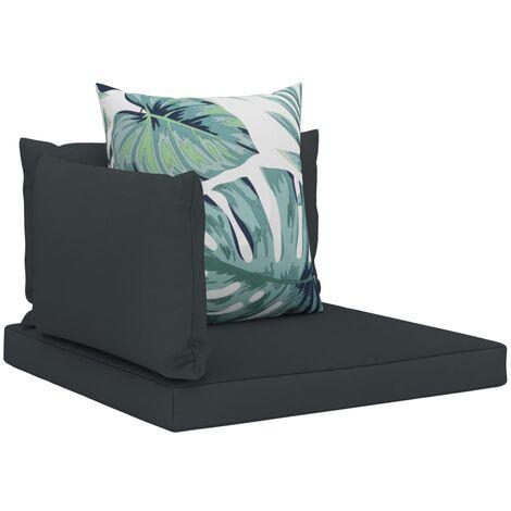 Coussins de canapé palette 4 pcs Anthracite Tissu