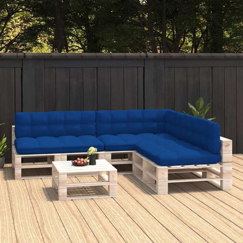 Coussins de canape palette 7 pcs Bleu royal