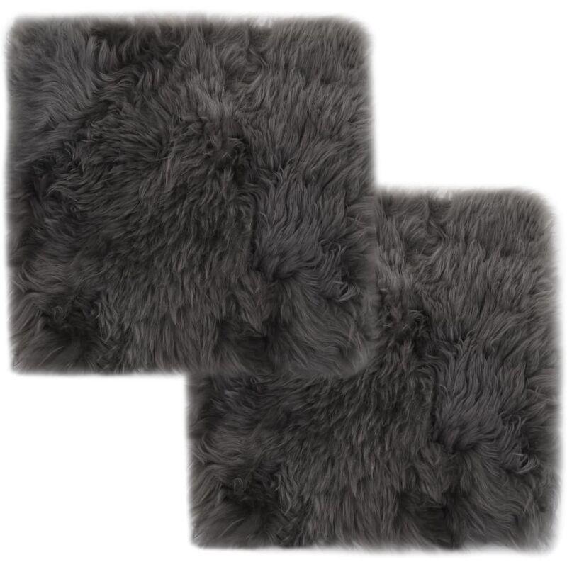 Coussins de chaise 2 pcs Gris clair 40x40 cm Mouton véritable