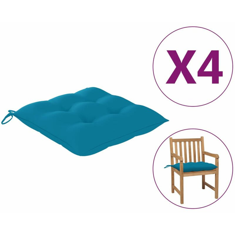 Coussins de chaise 4 pcs Bleu clair 50x50x7 cm Tissu