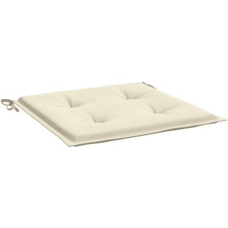 Coussins de chaise de jardin 2 pcs Crème 50x50x3 cm