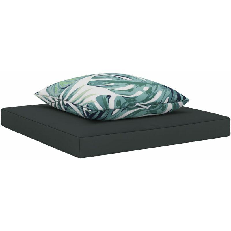 Coussins de palette canapé de sol 2 pièces en tissu anthracite - noir