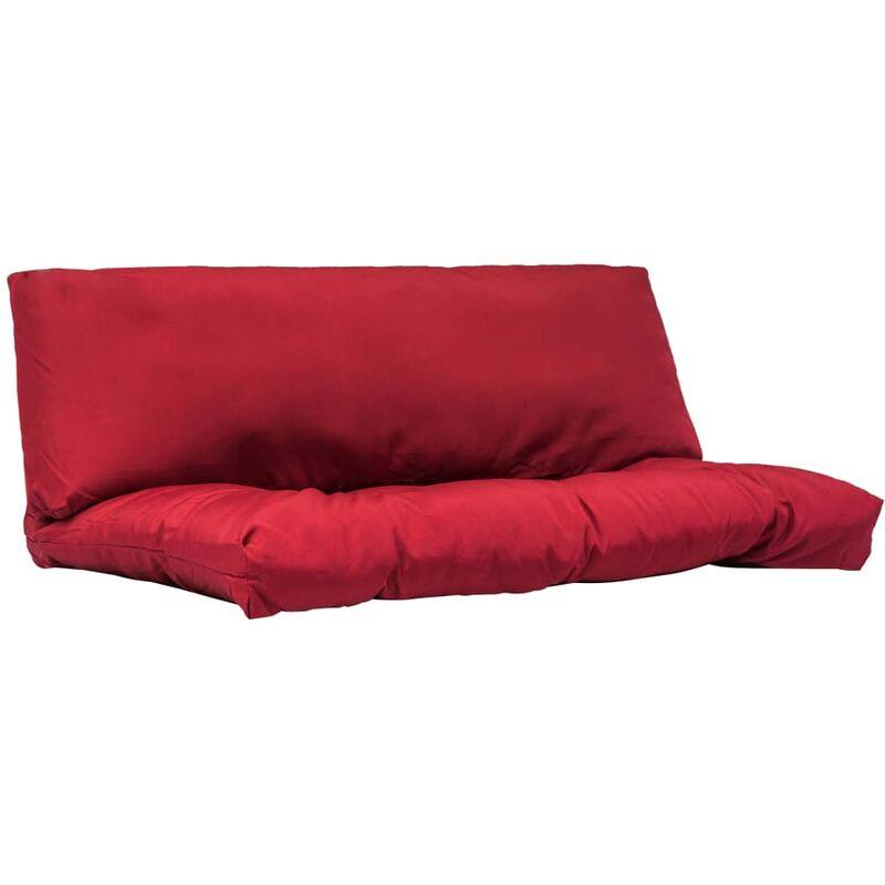 Coussins de palette canapé de sol 2 pièces en tissu rouge - rougeed