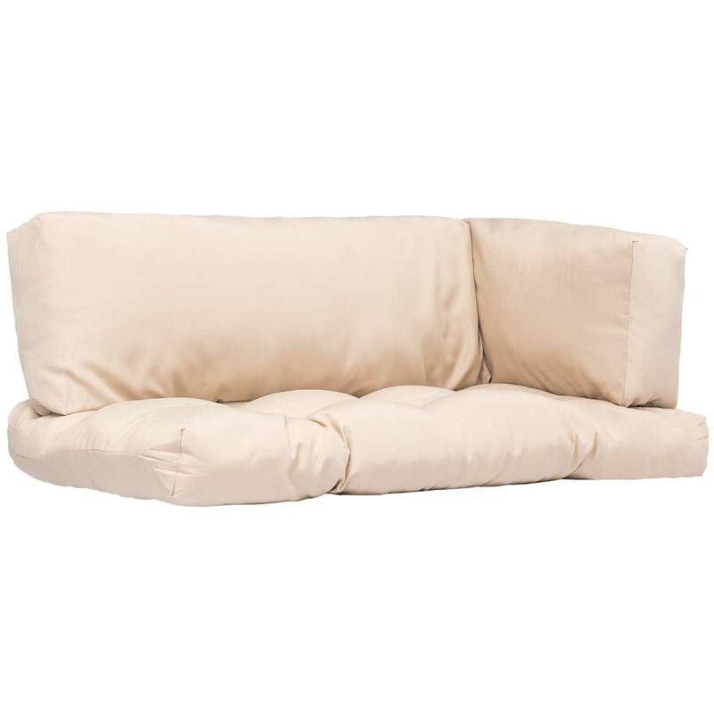 Décoshop26 - Coussins de palette canapé de sol 3 pièces en tissu crème - crèmem