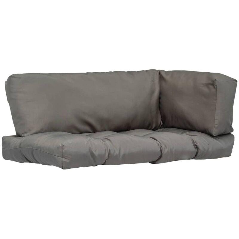 Coussins de palette canapé de sol 3 pièces en tissu gris - gris