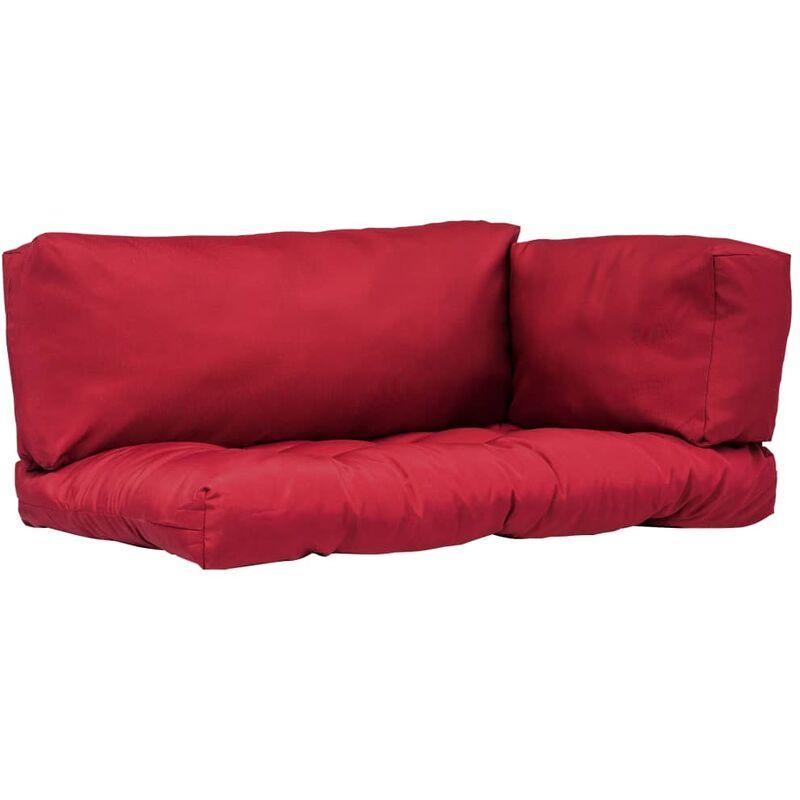 Décoshop26 - Coussins de palette canapé de sol 3 pièces en tissu rouge - rougeed
