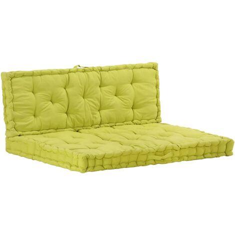 Coussins de plancher de palette 2 pcs Coton Vert
