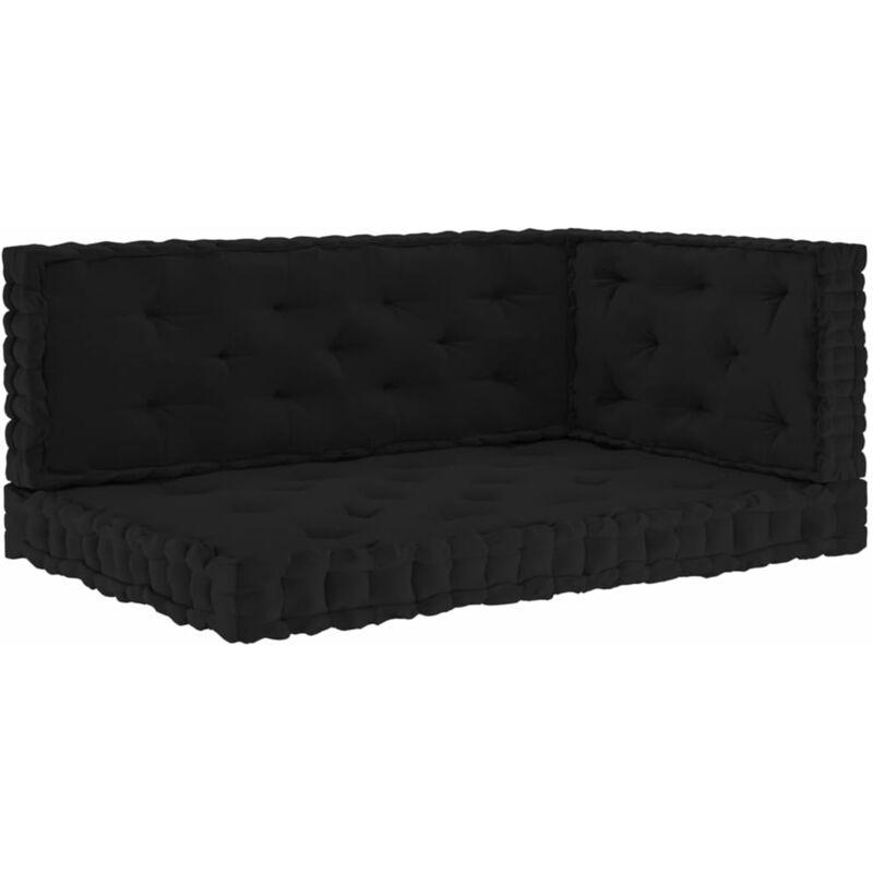 Coussins de plancher de palette 3 pcs Noir Coton