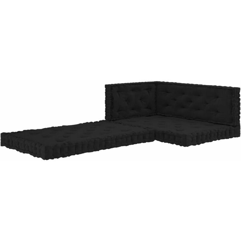 Coussins de plancher de palette 4 pcs Noir Coton
