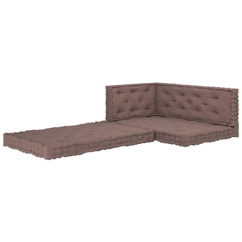 Coussins de plancher de palette 4 pcs Taupe Coton