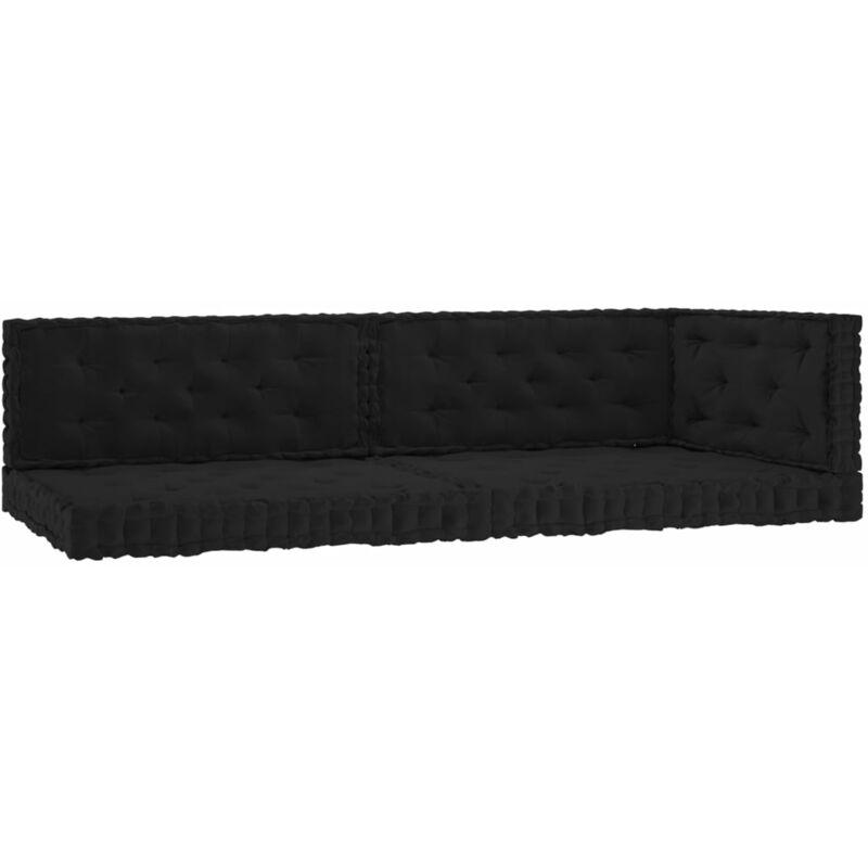 Coussins de plancher de palette 5 pcs Noir Coton