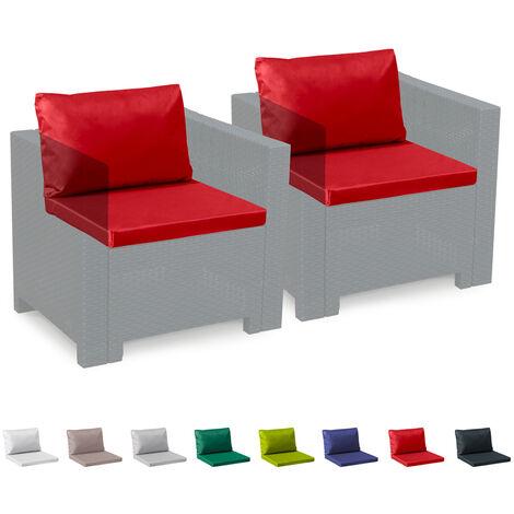 Coussins de rechange imperméables salon de jardin Rotin Bica Grand Soleil  set 2 places | Rouge