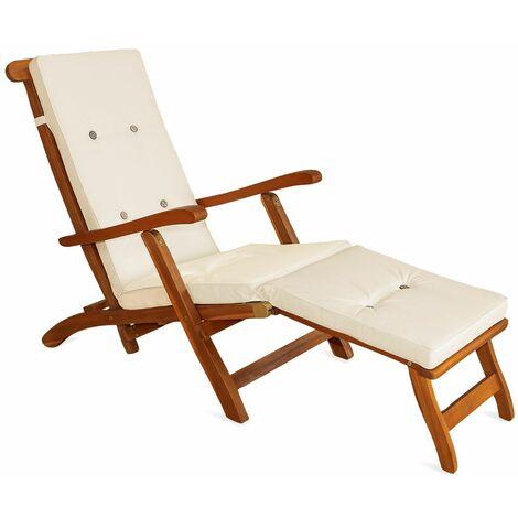 """main image of """"Coussins de siège étanche et inclinable de couleur beige crème pour bain de soleil et relaxation"""""""