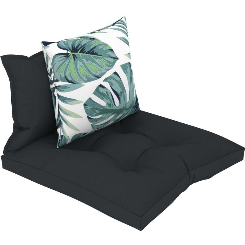 Décoshop26 - Coussins de sol canapé de palette en tissu anthracite dossier et assise 3 pièces - noir