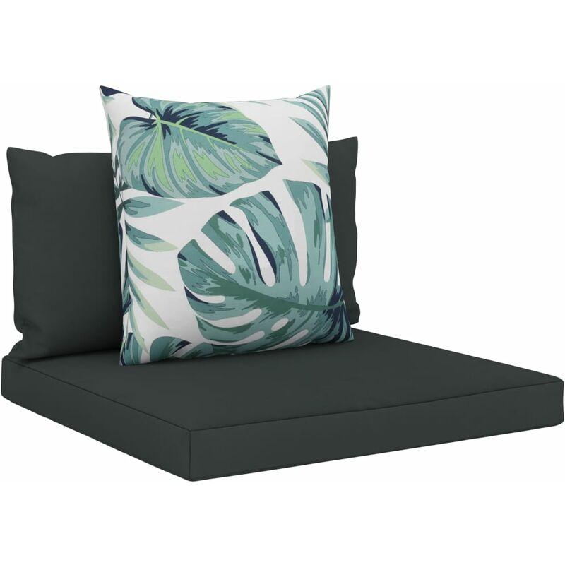Coussins de sol canapé de palette en tissu anthracite dossier et assise 3 pièces - noir
