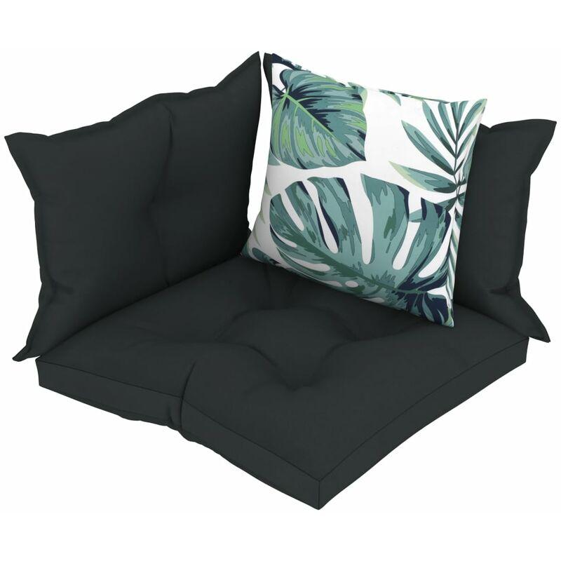 Décoshop26 - Coussins de sol canapé de palette en tissu anthracite dossier et assise 4 pièces - noir