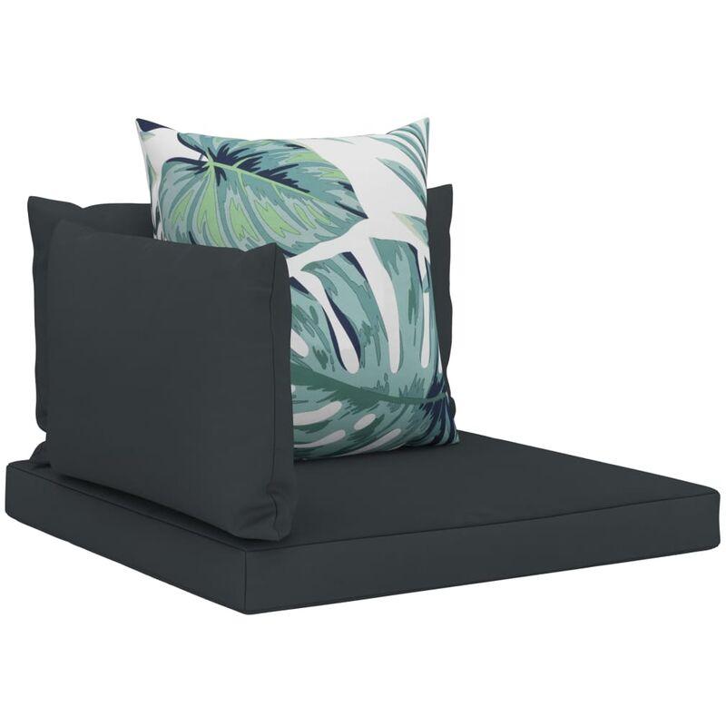 Coussins de sol canapé de palette en tissu anthracite dossier et assise 4 pièces - noir