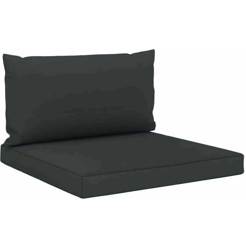 Coussins de sol canapé de palette en tissu anthracite dossier et assise - noir