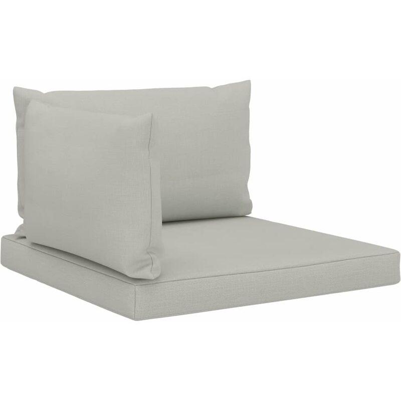 Décoshop26 - Coussins de sol canapé de palette en tissu beige dossier et assise 3 pièces - Beige
