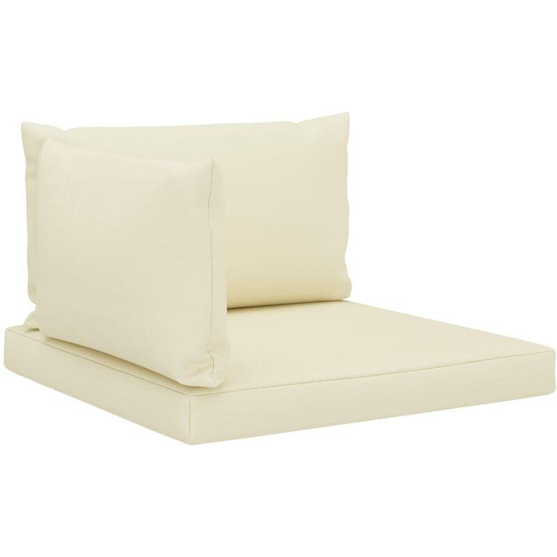 Coussins de sol canapé de palette en tissu crème dossier et assise 3 pièces - crèmem