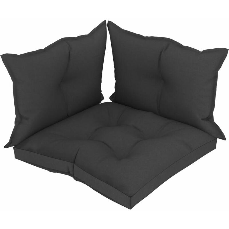 Décoshop26 - Coussins de sol canapé de palette en tissu noir dossier et assise 3 pièces - noir