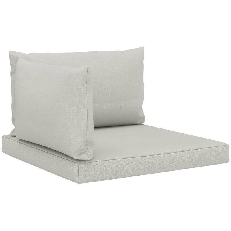 Décoshop26 - Coussins de sol canapé de palette en tissu taupe dossier et assise 3 pièces - taupe