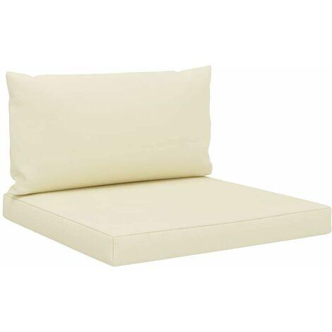 Coussins de sol canapé de palette en tissu crème dossier et assise - crèmem