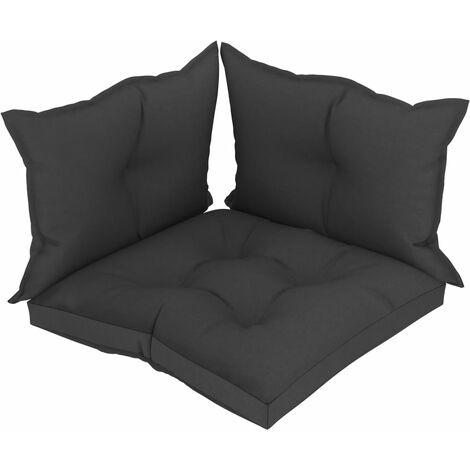 Coussins de sol canapé de palette en tissu noir dossier et assise 3 pièces - noir