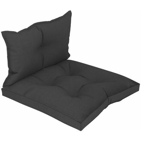 Coussins de sol canapé de palette en tissu noir dossier et assise - noir