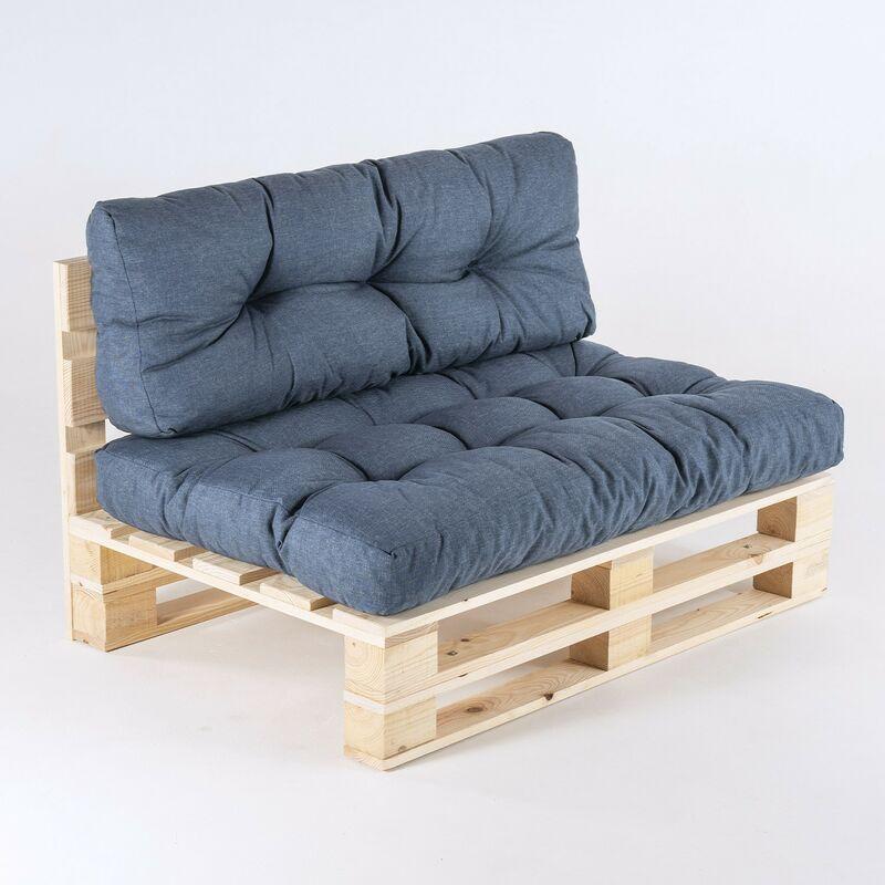 Edenjardin - Canapé palette + coussin d'assise 80x120x16 cm + coussin dossier 42x120x16 cm | Couleur bleu oléfine | Résistant à l'eau